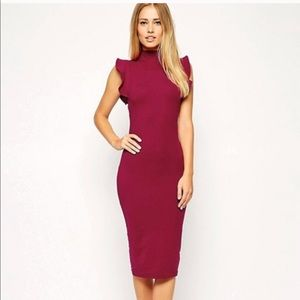 Burgundy body con dress with ruffles